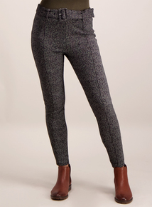 Monochrome Belted Patterned Leggings