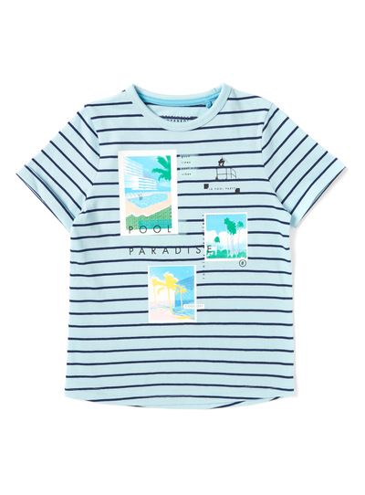Multicoloured Pool Paradise Striped T-Shirt (3-14 years)