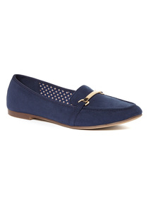 Navy Slipper Cut Loafers