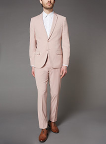 Online Exclusive Pastel Pink Slim Fit Suit Trousers