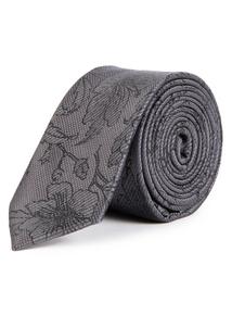 Grey Floral Print Tie