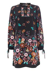 Multicoloured Floral Border Tunic