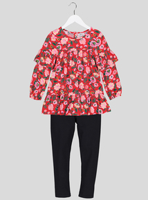 Red Floral Patterned Top & Legging 2 Piece Set (3 -14 Years)
