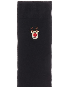Black 5 Pack Christmas Embroidery Socks