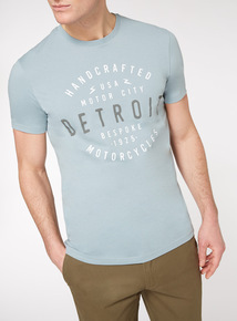 Light Blue 'Detroit Motorcycles' T-shirt