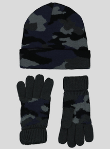 Grey Camouflage Print Hat & Gloves Set (3-13 years)