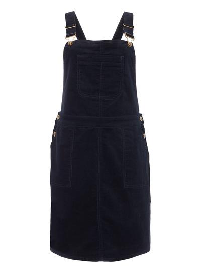 Navy Cord Dungaree Dress