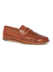 Leather Basket Weave Loafers
