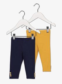 Multicoloured Ribbed Leggings 2 Pack (0 - 24 Months)