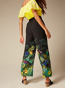 Premium Floral Border Print Palazzo Trousers