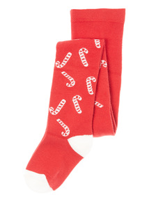 Red Christmas Candy Cane Tights (0-24 months)