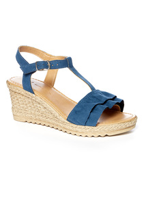 Navy Ruffle Wedge Sandals
