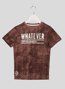 Brown 'Whatever' Printed T Shirt (3-14 years)