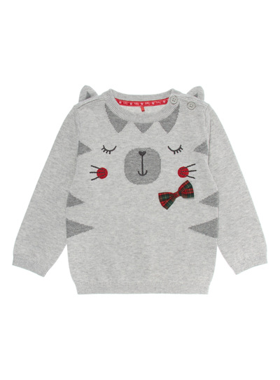 Grey Cat Knitted Jumper