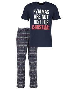 Christmas Navy Slogan Pyjamas