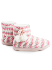 Multicoloured Knitted Slipper Boots (Infant 10-4)