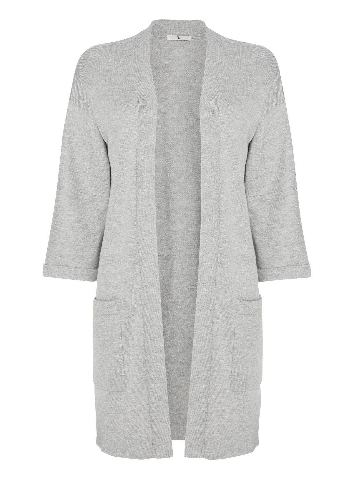 Womens Grey Longline Cardigan | Tu clothing