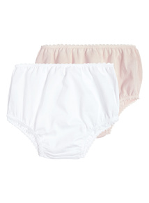 Girls Pink Frilly Knickers 2 Pack (0-24 months)