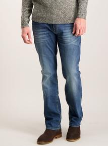 Stonewash Blue Denim Straight Leg Jeans