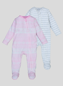 Multicoloured Patterned Sleepsuits 2 Pack (Newborn - 24 months)