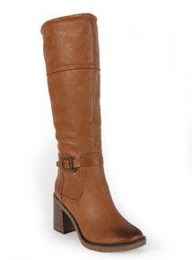 Tan Suede-Effect Knee-High Boots