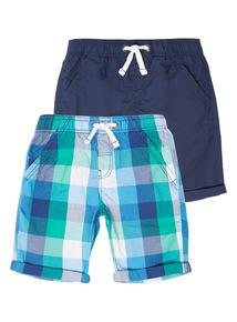 Boys Poplin Shorts 2 Pack (3 - 12 years)
