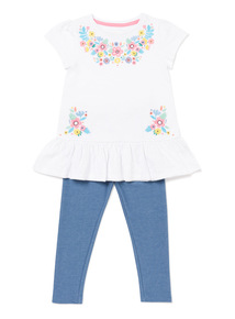 White Floral Print Top And Leggings Set (9 months-6 years)