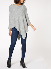 Grey Cable Knit Poncho
