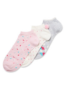 3 Pack Pom Pom Trainer Socks
