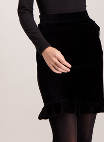 Black Cord Frill Hem Mini Skirt