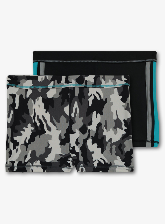 64ae687e7f Kids Black & Grey Camouflage Swim Shorts 2 Pack (3-12 Years) | Tu ...