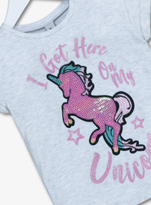 Grey Unicorn Sequinned Top (3 - 14 years)