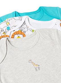 5 Pack Multicoloured Animal Print Bodysuits (Newborn - 36 months)