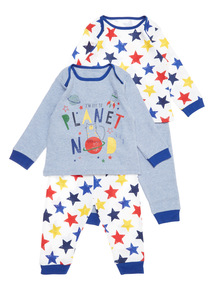 2 Pack Multicoloured Rocket Pyjamas (0-24 months)