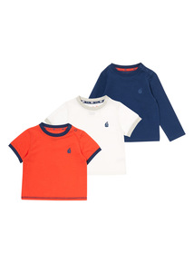 Boys Multicoloured Mixed Sleeve Tees 4 Pack (0-24 months)