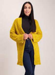 Mustard Wide Sleeve Bouclé Coatigan