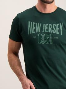 Dark Green 'New Jersey' Slogan T-Shirt