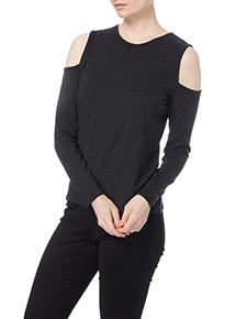 Grey Plain Cold Shoulder Top