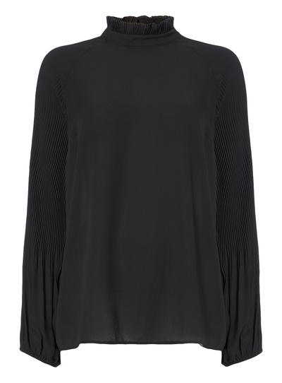 Pleated High Neck Blouse
