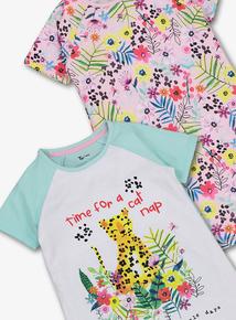 2561320be6b Multicoloured Jungle Print Nighties 2 Pack