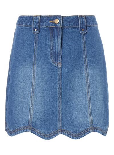 Denim Scallop Mini Skirt