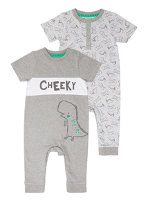 Boys Grey Dino Rompers 2 Pack (0 - 24 months)