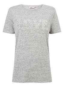 Knitlook 'Love' Slogan Gem T-Shirt