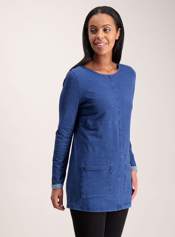 065289fd1c8 Womens Blue Denim A-Line Tunic