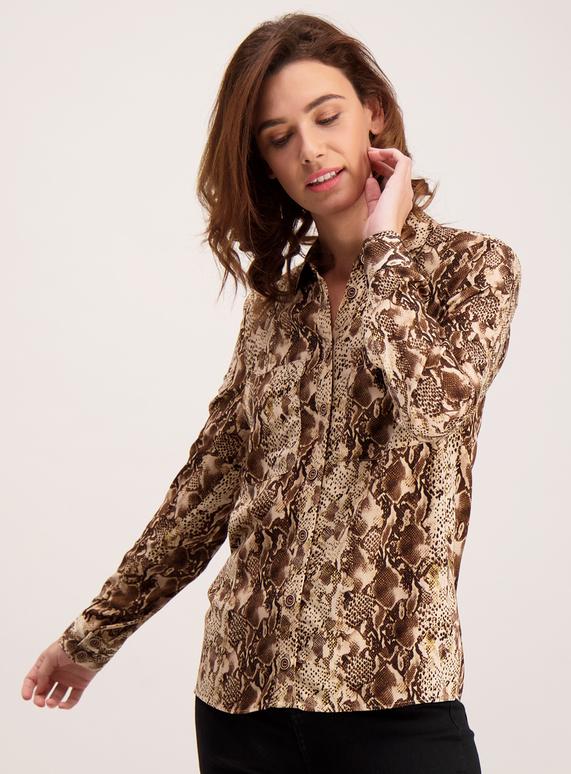 863ebe3b13d Womens Brown Snakeskin Print Shirt