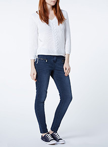 Nautical Zip Pocket Skinny Jeans