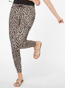 Multicoloured Leopard Drapey Trousers
