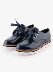 Navy Faux Patent Lace Up Shoe (10 Infant - 4 Child)