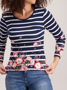 Navy Floral Stripe Crew Neck Top