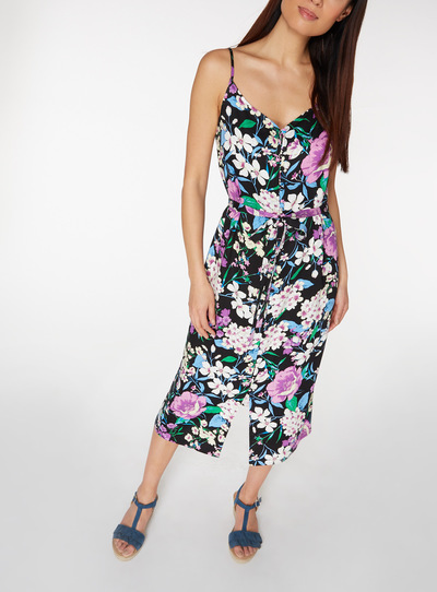 Multicoloured Floral Printed Button Through Cami Dress